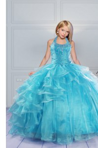 Halter Top Sleeveless Lace Up Pageant Gowns For Girls Aqua Blue Organza