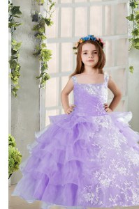 Stylish Lavender Sleeveless Floor Length Beading and Ruffled Layers Lace Up Girls Pageant Dresses