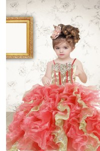 Multi-color Organza Lace Up Little Girl Pageant Dress Sleeveless Floor Length Beading and Ruffles and Sequins