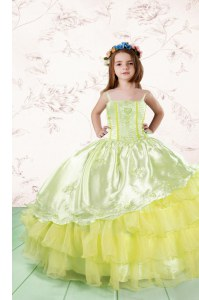 Light Yellow Ball Gowns Organza Spaghetti Straps Sleeveless Lace and Ruffled Layers Floor Length Lace Up Child Pageant Dress