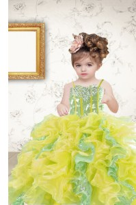 High Quality Multi-color Sleeveless Floor Length Beading and Ruffles and Sequins Lace Up Little Girls Pageant Gowns