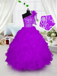 One Shoulder Floor Length Ball Gowns Short Sleeves Fuchsia Girls Pageant Dresses Lace Up