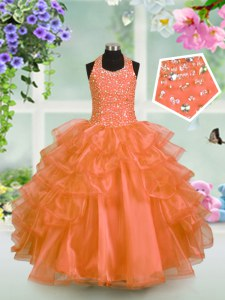 Halter Top Sleeveless Beading and Ruffled Layers Lace Up Kids Formal Wear
