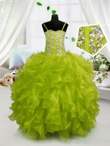 Great Yellow Green Sleeveless Organza Lace Up Little Girls Pageant Dress Wholesale for Party and Wedding Party
