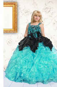 Pick Ups Floor Length Ball Gowns Sleeveless Aqua Blue Kids Formal Wear Lace Up