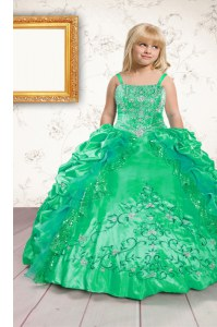 Sweet Green Spaghetti Straps Neckline Beading and Appliques and Pick Ups Little Girls Pageant Gowns Sleeveless Lace Up
