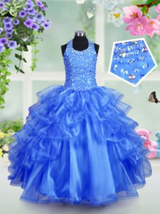Halter Top Sleeveless Beading and Ruffled Layers Lace Up Little Girl Pageant Gowns