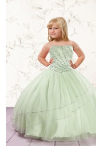 Apple Green Sleeveless Beading Floor Length Little Girl Pageant Gowns