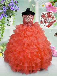 Sleeveless Floor Length Ruffled Layers and Sequins Lace Up Kids Pageant Dress with Coral Red