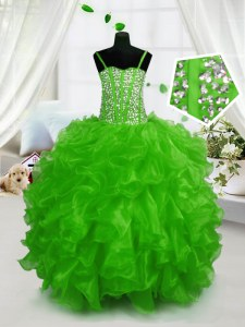Green Sleeveless Floor Length Beading and Ruffles Lace Up Kids Pageant Dress