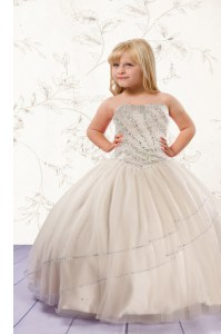 Super Champagne Lace Up Strapless Beading Kids Formal Wear Tulle Sleeveless