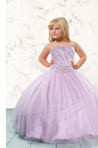 New Arrival Beading Girls Pageant Dresses Lilac Lace Up Sleeveless Floor Length