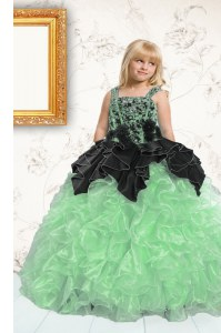 Fantastic Sleeveless Lace Up Floor Length Appliques and Pick Ups Little Girl Pageant Gowns