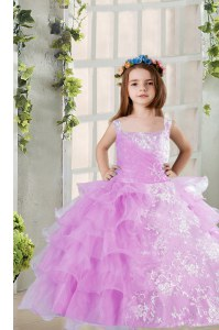 Wonderful Sleeveless Floor Length Lace and Ruffled Layers Lace Up Kids Formal Wear with Lavender