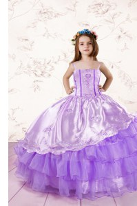 Lavender Organza Lace Up Little Girls Pageant Dress Wholesale Sleeveless Floor Length Embroidery and Ruffled Layers