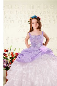 Lilac Organza Lace Up Little Girls Pageant Dress Sleeveless Floor Length Beading and Ruffled Layers and Hand Made Flower