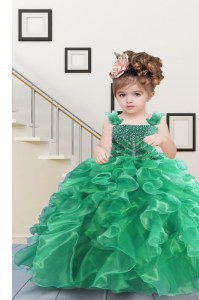 Apple Green Ball Gowns Organza Straps Sleeveless Beading and Ruffles Floor Length Lace Up Pageant Gowns For Girls