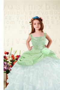 Nice Ruffled Ball Gowns Girls Pageant Dresses Apple Green Straps Organza Sleeveless Floor Length Lace Up