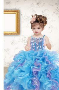 Multi-color Ball Gowns Organza Spaghetti Straps Sleeveless Beading and Ruffles and Sequins Floor Length Lace Up Girls Pageant Dresses