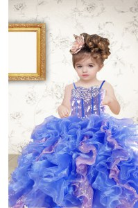 Sequins Ball Gowns Pageant Gowns For Girls Multi-color Spaghetti Straps Organza Sleeveless Floor Length Lace Up