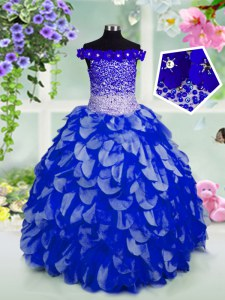 Royal Blue Little Girl Pageant Gowns Party and Wedding Party and For with Beading and Hand Made Flower Off The Shoulder Sleeveless Lace Up
