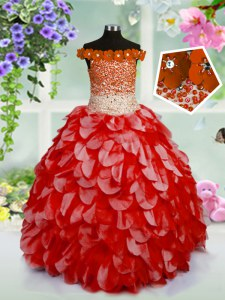 Off the Shoulder High Low Red Little Girl Pageant Dress Organza Sleeveless Beading and Hand Made Flower