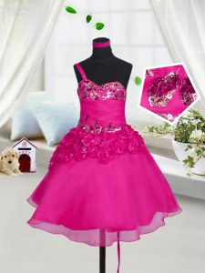 Fantastic Fuchsia Sweetheart Lace Up Beading and Hand Made Flower Little Girls Pageant Dress Sleeveless