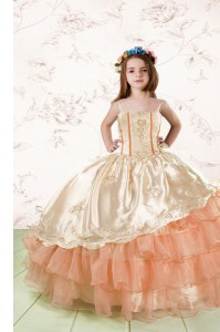 Sleeveless Embroidery and Ruffled Layers Lace Up Little Girl Pageant Gowns