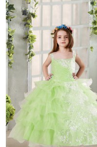 Ruffled Floor Length Ball Gowns Sleeveless Yellow Green Kids Formal Wear Lace Up
