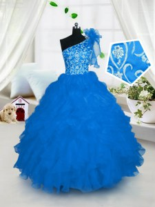 Cheap Ball Gowns Pageant Gowns For Girls Aqua Blue One Shoulder Organza Sleeveless Floor Length Lace Up