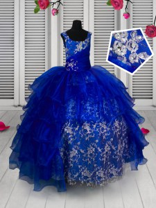 Popular Blue Sleeveless Appliques Floor Length Little Girls Pageant Dress Wholesale