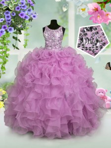 Scoop Lilac Zipper Little Girl Pageant Dress Ruffles and Sequins Sleeveless Floor Length