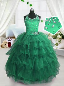 Scoop Floor Length Lace Up Kids Pageant Dress Peacock Green for Party and Wedding Party with Beading and Ruffled Layers
