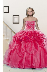 Enchanting Pick Ups Sweetheart Sleeveless Lace Up Little Girls Pageant Dress Wholesale Hot Pink Organza