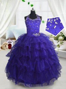 Perfect Scoop Sleeveless Beading and Ruffled Layers Lace Up Girls Pageant Dresses