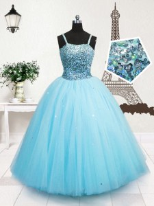 Beautiful Sequins Floor Length Turquoise Little Girls Pageant Dress Wholesale Spaghetti Straps Sleeveless Zipper