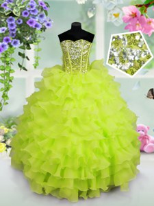 Admirable Sequins Ruffled Floor Length Kids Formal Wear Sweetheart Sleeveless Lace Up