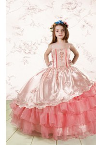 Cheap Baby Pink Sleeveless Embroidery and Ruffled Layers Floor Length Kids Pageant Dress