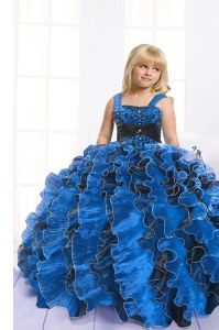 Affordable Sleeveless Lace Up Floor Length Beading and Ruffles Little Girl Pageant Gowns