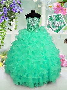 Low Price Organza Sleeveless Floor Length Little Girls Pageant Dress Wholesale and Ruffled Layers and Sequins