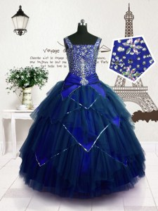 Beading and Belt Little Girls Pageant Dress Wholesale Royal Blue Lace Up Sleeveless Floor Length
