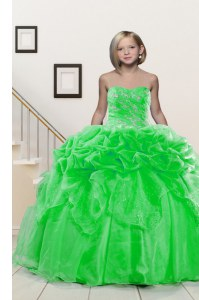 Beautiful Lace Up Sweetheart Beading and Pick Ups Little Girl Pageant Gowns Organza Sleeveless