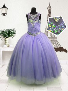Superior High-neck Sleeveless Kids Formal Wear Floor Length Beading Lavender Organza