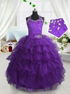 Ruffled Scoop Sleeveless Lace Up Girls Pageant Dresses Purple Organza