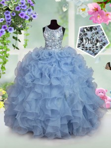 Scoop Light Blue Sleeveless Ruffles and Sequins Floor Length Girls Pageant Dresses