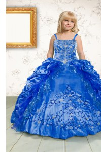 Satin Spaghetti Straps Sleeveless Lace Up Beading and Appliques and Pick Ups Kids Formal Wear in Blue