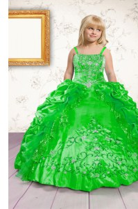 Dazzling Satin Lace Up Little Girls Pageant Dress Sleeveless Floor Length Beading and Appliques and Pick Ups