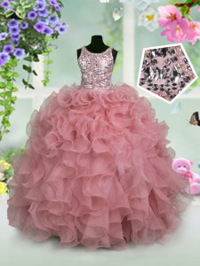 Scoop Sleeveless Floor Length Ruffles and Sequins Zipper Little Girl Pageant Gowns with Pink