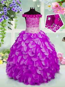 Great Off the Shoulder Beading and Hand Made Flower Little Girl Pageant Dress Lavender Lace Up Sleeveless Floor Length