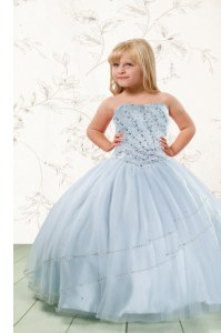 Affordable Baby Blue Tulle Lace Up Little Girls Pageant Dress Sleeveless Floor Length Beading
